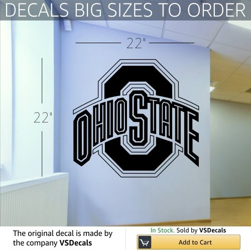 NCAA Wall Mural Vinyl Sticker Sports Logos Ohio State Buckeyes (S687) FRST (Ohio State Bathroom Decor)