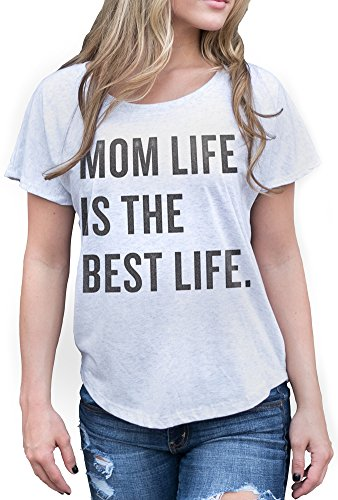 Superluxe Clothing Womens Mom Life is The Best Life Tri-Blend Dolman Mothers Day T-Shirt, Heather White, 2X-Large