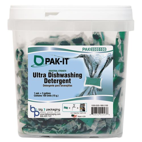 PAK-IT Ultra Dish Detergent, Lemon Scent, 100 Paks/Tub (4 Tubs/Carton) - BMC- BIG5505203100CT by Miller Supply Inc