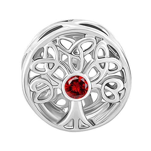 ShinyJewelry Synthetic January Birthstone Family Tree Of Life Beads Charm for European Bracelet