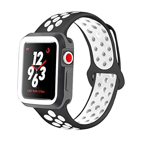 KINPEI for Apple Watch Nike Band Series 44mm with Case, Soft Silicone Sport Wristband for iWatch Apple Watch (Black/White, 42mm)