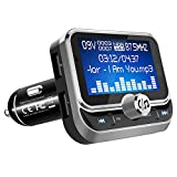 ToHayie Bluetooth FM Transmitter for Car, 1.8'' LCD Display Wireless Bluetooth Radio Transmitter Adapter Stereo Music Player Car Kit, Dual USB Ports, Hands-Free Calling, AUX, TF Card and U-Disk