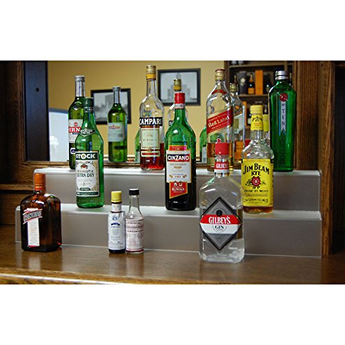- KegWorks 2 Tier Liquor Bottle Step Shelf - Translucent Acrylic - 34 Inches Long