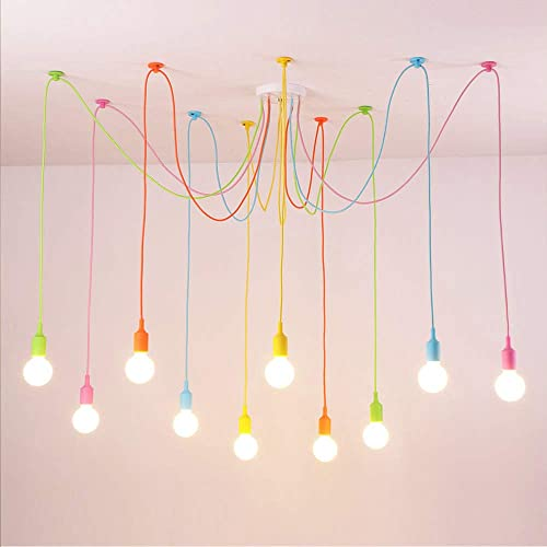 10 Arms Spider Lamps Modern Style Adjustable DIY Ceiling Spider Pendant Lighting Color Chandelier
