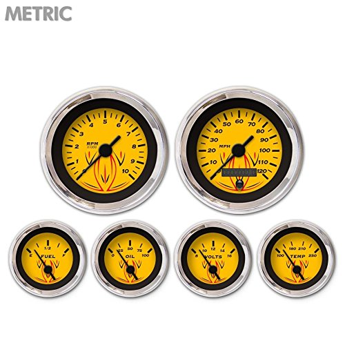 Aurora Instruments 6640 Pinstripe Yellow Metric 6-Gauge Set Black Vintage Needles, Chrome Trim Rings, Style Kit DIY Install