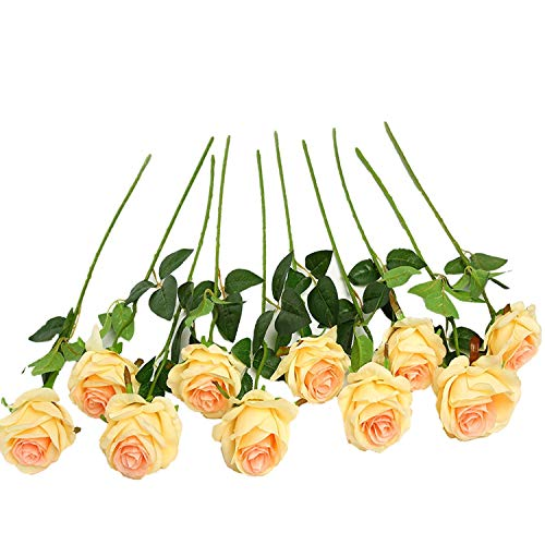 JUSTOYOU 10pcs Artificial Rose Silk Flower Blossom Bride Bouquet for Home Wedding Decor(Champagne) ()