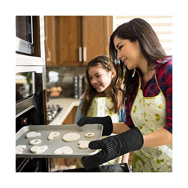 Guanto da Forno Antiscivolo Guanti da Cucina Silicone Doppio,Oven Gloves Professionali Resistenza al Calore Extra Lungo… 2 spesavip