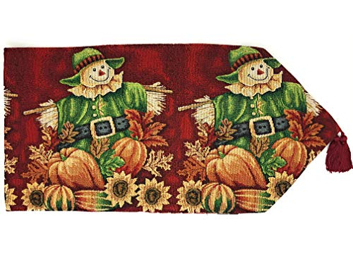 Tache Pumpkin Patch Scarecrow Thanksgiving Autumn Fall Leaves Vintage Farm Harvest Colorful Decorative Woven Tapestry Table Runners, 13x72]()