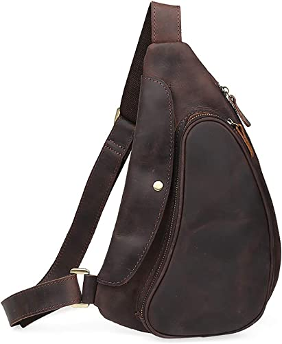 LederleiterUSA Men s Leather Chest Bag Sling Crossbody Shoulder Bag Backpack Outdoor Bag for men