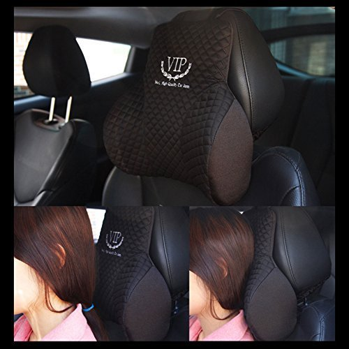 VIP Luxury Black Memoryform Cushions Car Seat Head Neck Rest Cushion Headrest Pillow Pad for Car Motors Auto Vehicle(1pack)