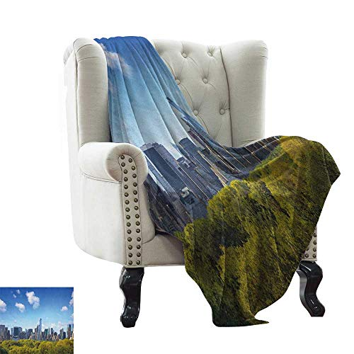 BelleAckerman Summer Blanket City,Manhattan Skyline with Central Park in New York City Midtown High Rise Buildings, Blue Green Ivory Microfiber All Season Blanket for Bed or Couch Multicolor 50