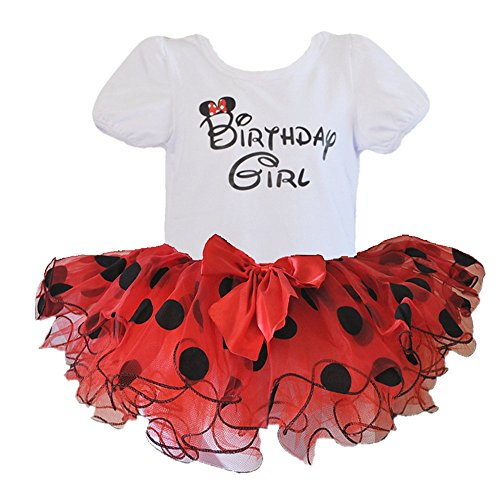 Birthday Girl T-Shirt with Polka Dot / Flower Design Tutu 2 pcs Set (Age 2, (Toddler Birthday Themes Girl)