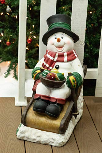 Alpine ZEN260SLR-S-TM Solar Snowman in Sleigh with 12 Led Lights and Timer Décor, 24