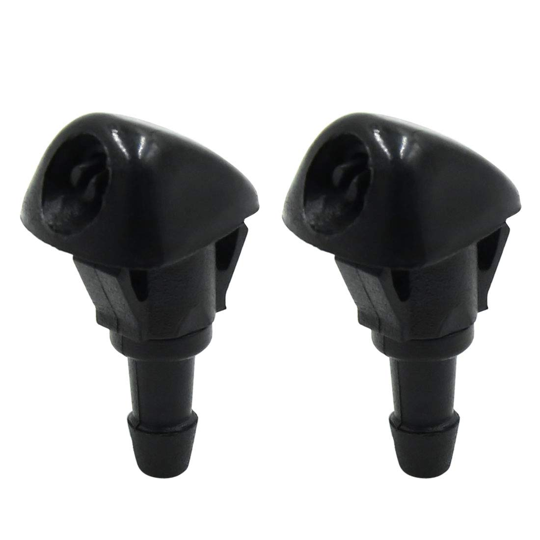 X AUTOHAUX 2pcs Black ABS Front Windshield Washer Water Cleaning Jet Nozzles