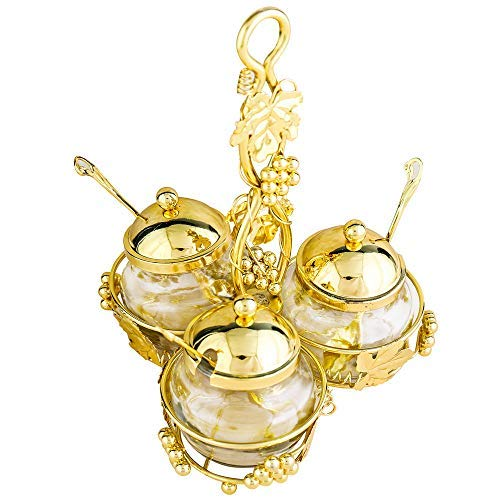 Glass Condiment Pots with Lids and Spoons Set of 3, XINFANGXIU Spice Jars Jam Mustard Pots Seasoning Container Salt Sugar Small Bowl with Golden Metal Holder Handle