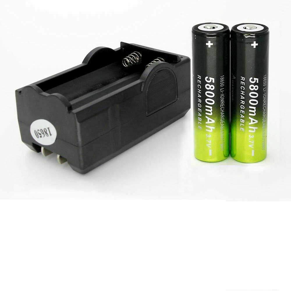 Flashlight Headlamp Batteries 2PCS 18650 3.7V Battery Li-ion 5800mAh Rechargeable Battery