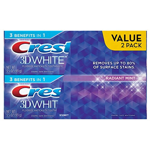 - Crest 3D White Radiant Mint Whitening Toothpaste Twin Pack, 7 Ounce