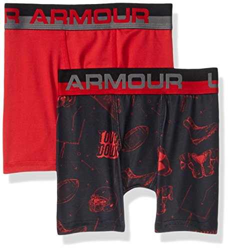 ig 2 Pack Performance Boxer Briefs, Black Football/Red, YLG ()