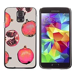 rígido protector delgado Shell Prima Delgada Casa Carcasa Funda Case Bandera Cover Armor para Samsung Galaxy S5 SM-G900 /Red Fruit Painting/ STRONG