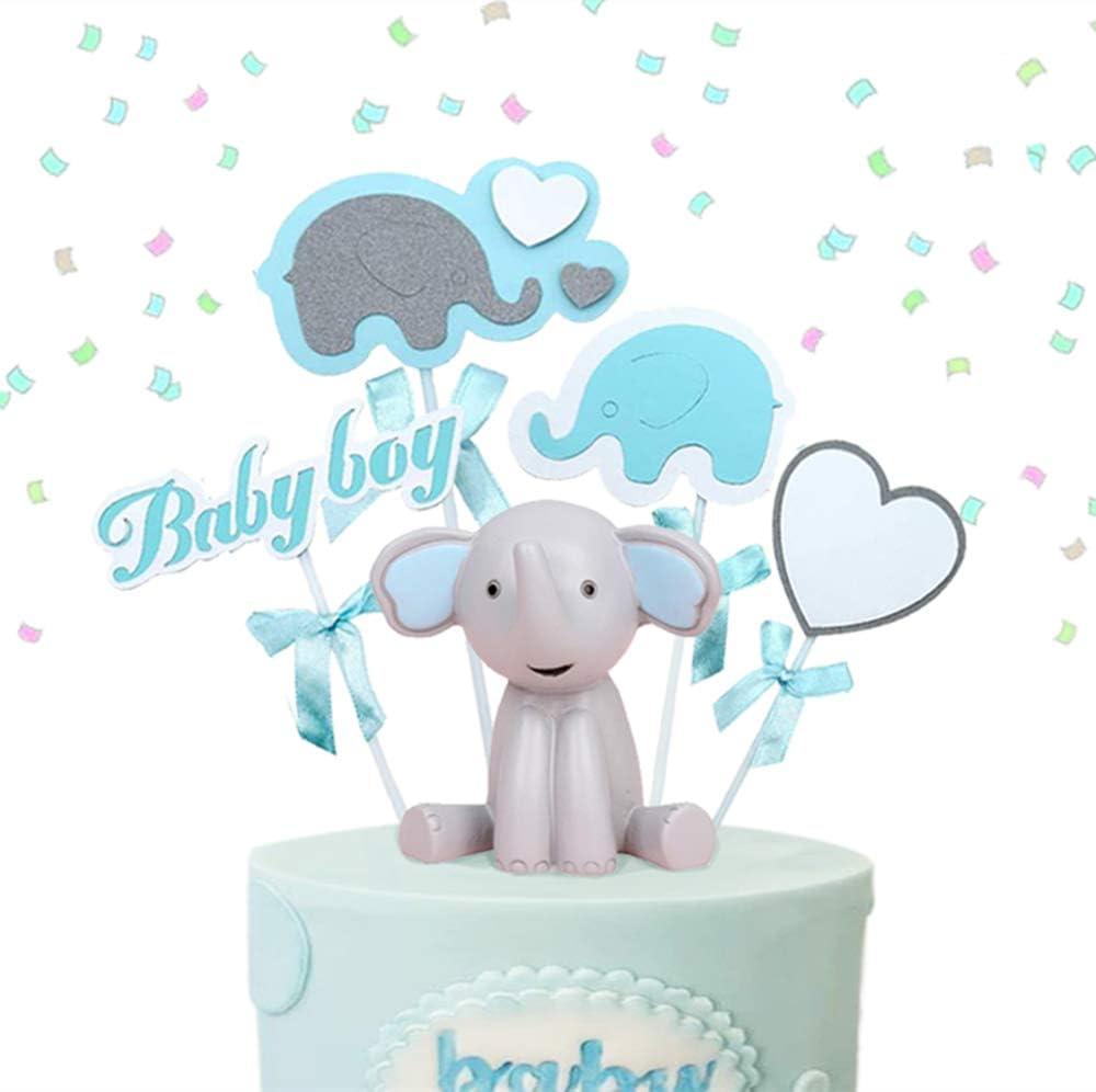 Tortendeko Babyparty Junge Elefante Baby Boy Luftballon Sterne Kuchendeko