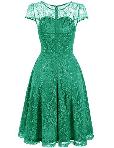 Boda Madrina Casual Mujer Fiesta Manga Corto Encaje Corta Vestido Dresstells reg; Verde Vintage zAwTtq8