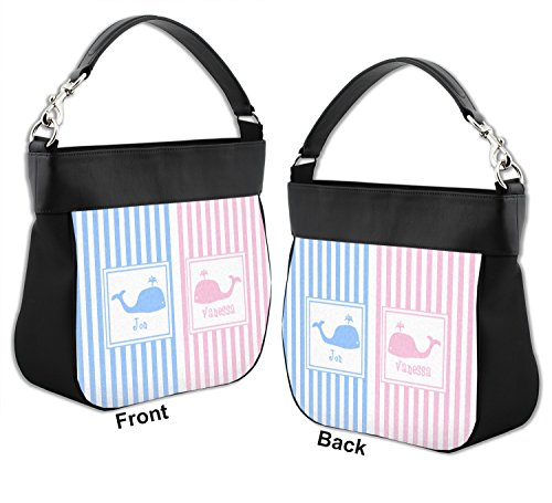 Striped w w Front Trim Purse amp; Whales Leather Hobo Back Personalized Genuine IIdqr