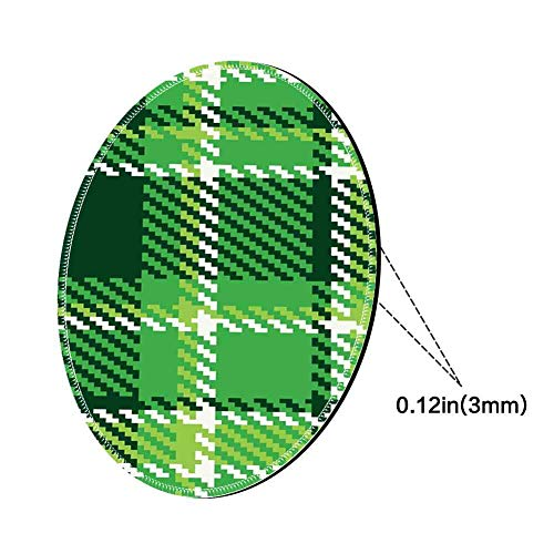 Round Mouse Pad Mousepad with Checkered,Old Fashioned Irish British Tile Mosaic in Vibrant Green Colors,Emerald Lime Green White Pattern Gel Rubber for Gaming Office - 200MMx3MM