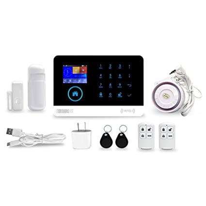 likeitwell Kit de Sistema de Alarma antirrobo, Wireless gsm y WiFi Alarma Smart Home Oficina