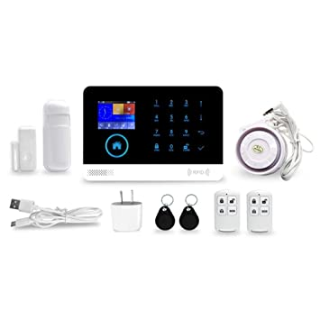 StageOnline Kit de Sistema de Alarma antirrobo, Wireless gsm y WiFi Alarma contra Intrusos en
