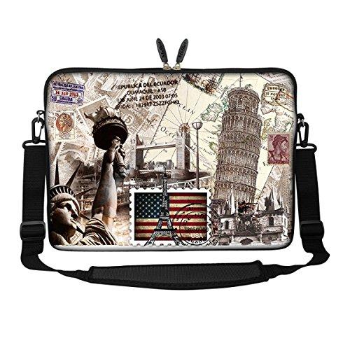 Meffort Inc 15 15.6 inch Neoprene Laptop Sleeve Bag Carrying Case with Hidden Handle and Adjustable Shoulder Strap - World Landmarks