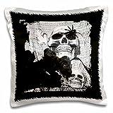 WhiteOaks Halloween Skulls - negro y blanco de calaveras negro y blanco fotos - Funda de almohada