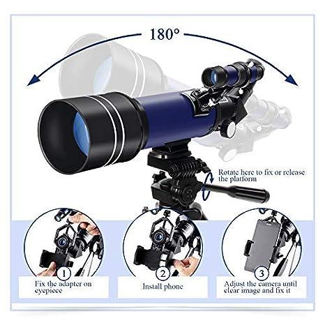 T/élescope Astronomique Professionnel Aux D/ébutants ou Enfants avec Tr/épied de 110cm R/éfracteur 400//70mm Portable et /Équip/é dun Adaptateur pour Smartphone Maxlapter
