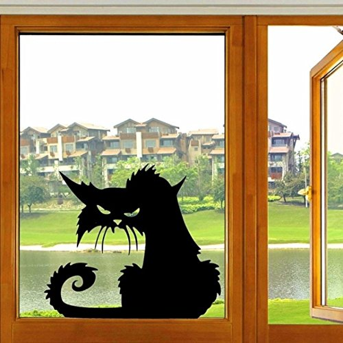 SUPPION Vinyl Removable 3D Wall Sticker Halloween Black Cat Decor Decals For Walls Decal -