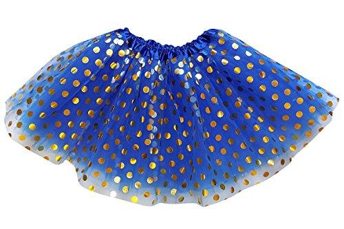 So Sydney Kids, Adult, or Plus Size GOLD POLKA DOT TUTU SKIRT Halloween Costume (M (Kid Size), Royal Blue)