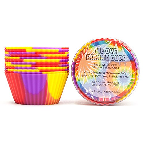 Tie-Dye Silicone Baking Cups / Reusable Cupcake Liners-Environmentally Safe-Lifetime Guarantee (12 Pack-Groovy Cups