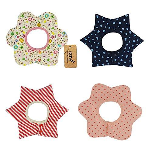 iZiv(TM) Baberos del Bebé - Paquete de 4 Diseños con 4 Capas Impermeables para niño 0-3 años (Color-8) Color-9