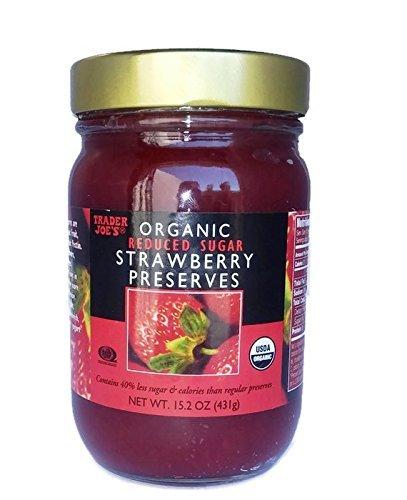 Trader Joes Organic Strawberry Preserves, Reduced Sugar, 15.2oz/431gr - Organic Strawberry Preserves