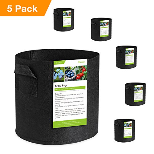 Benuo Grow Bags 5 Pack 5 Gallon Premium Aeration Fabric Grow Plants Pots Containers w/Handles for Gardening Nursery Home Decoration (Black) by Benuo