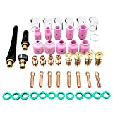 SODIAL 49pcs/set Durable TIG Welding Torch Stubby Tig Gas Lens #10 Pyrex Glass Cup Kit For WP-17/18/26 Mayitr Welding Accessories