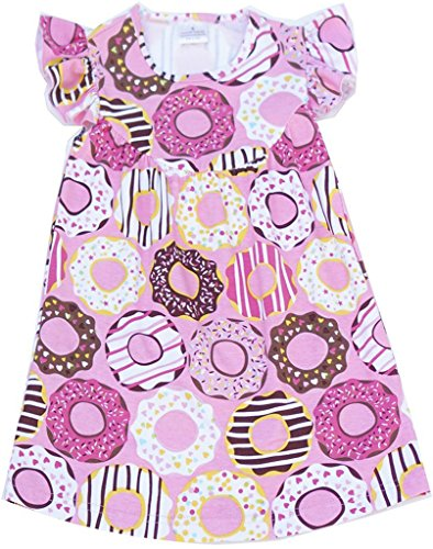 Toddler Pink Donut Print Flower Girl Dress Pink