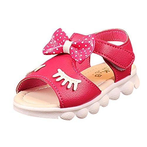 Moonker Kids Girls Eyelash Bowknot Beach Sandals Toddler Open-Toe Non-Slip Walking Princess Shoes 1-6T (5.5-6 Years Old, Hot Pink)