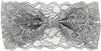 Freessom No/ël B/éb/é Enfant Filles Bandeau Cheveux Noeud Papillon Mignon Lace Dentelle Elastique Bande de Cheveux Enveloppement de T/ête Accessoires Arc Naissance Bapt/ême F/ête Mariage Photo