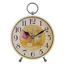 Konigswerk Vintage Retro Old Fashioned Decorative Quiet Non-ticking Sweep Second Hand, Quartz Analog Large Numerals Desk Clock, Battery Operated, Loud Alarm (AC121G)