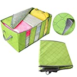 SUJING Blanket Storage Foldable Closet Organizer Clothing Storage Box Underbed Storage Containers (Green)