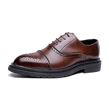 4e2c2553 HILOTU Zapatos de vestir Oxford para hombre Moda casual Clásico Retro  Colores de pincel Zapatos Brogue Zapatos de oficina de boda (Color :  Marrón-41 EU): ...