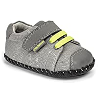 pediped Originals Jake Sneaker (Infant/Toddler), Grey/Lime, Small (6-12 Months E US Infant)