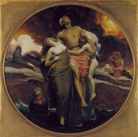 'Lord Leighton Frederic - And The Sea Gave Up The Dead Which Were In It,1892' Oil Painting, 16x16 Inch / 41x41 Cm ,printed On Perfect Effect Canvas ,this Cheap But High Quality Art Decorative Art Decorative Prints On Canvas Is Perfectly Suitalbe For Living Room Decoration And Home Artwork And Gifts