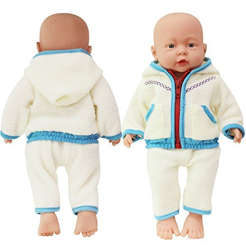 (Rifi Baby Doll's Clothes Hoodie Jacket Suit Pants Set Fleece Blue for 14 to 16 inches Dolls)