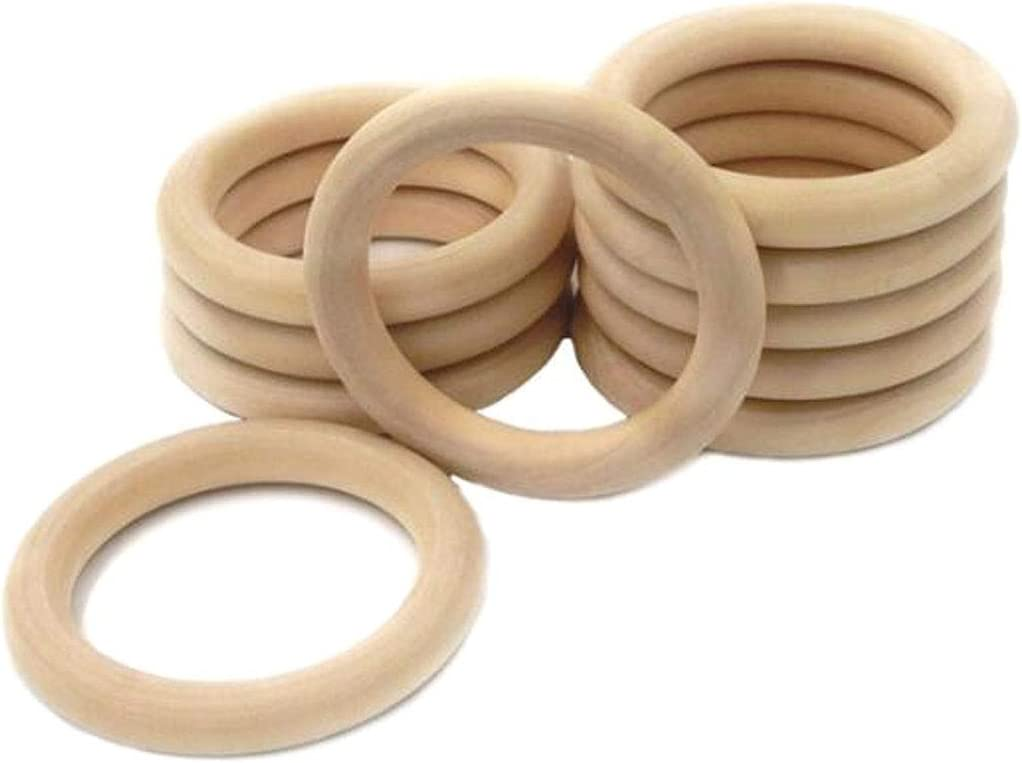 100mm Solid Wood Ring Circles for DIY Projects Handbag Buckle Craft Jewelry Making Numblartd 10 Pcs Unfinished Natural Wooden Pendant Connectors Teething Ring