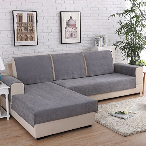 DW&HX Waterproof Anti-Slip Sofa Cover, Pets Dog Sectional Couch Water Resistant Stain Resistant Multi-Size Sofa Covers Slipcover Furniture Protector -Sold by Piece-Gray 35x71inch(90x180cm)